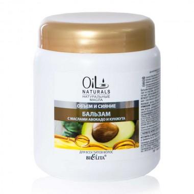 Бальзам с маслами авокадо и кунжута Объем и Сияние для всех типов волос, Oil Naturals Белита