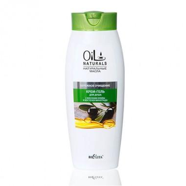 Крем-гель для душу з маслами оливи і кісточок винограду Дбайливе очищення, Oil Naturals Беліта