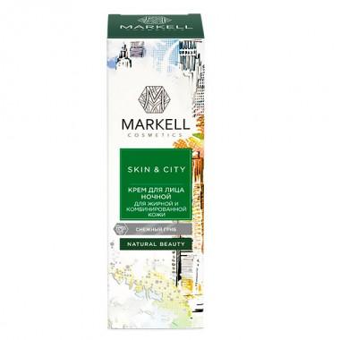 Крем для обличчя нічний для жирної та комбінованої шкіри сніговий гриб Skin & City