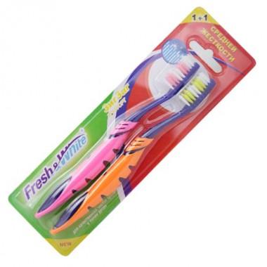 Зубная щетка Fresh&White Zigzag Comfort средней жесткости 1+1 (розовая-оранжевая), Мэгги