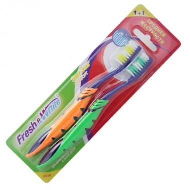 Зубная щетка Fresh&White Zigzag Comfort средней жесткости 1+1 (зеленая-оранжевая), Мэгги