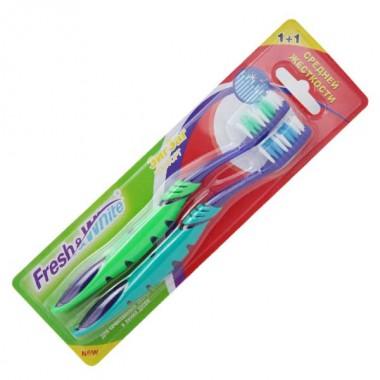 Заказать Зубная щетка Fresh&White Zigzag Comfort средней жесткости 1+1, Мэгги недорого