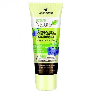 Средство для снятия макияжа с лица и глаз с зеленым чаем и васильком, Active Nature Eco Belle Jardin