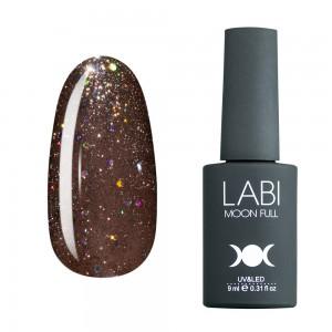 Гель-лак для нігтів Labi Glitter №G07 темний бежевий з різнобарвним глітером